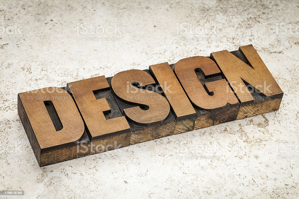 design word in wood type royalty-free stock photo