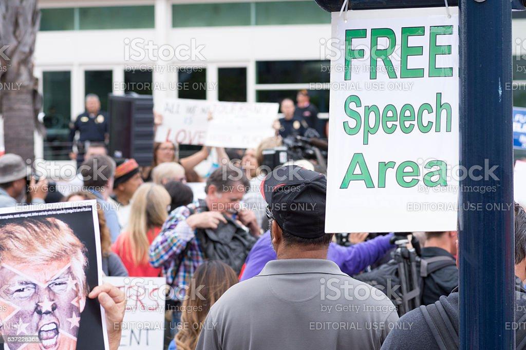 Designated free speech area at protest stock photo