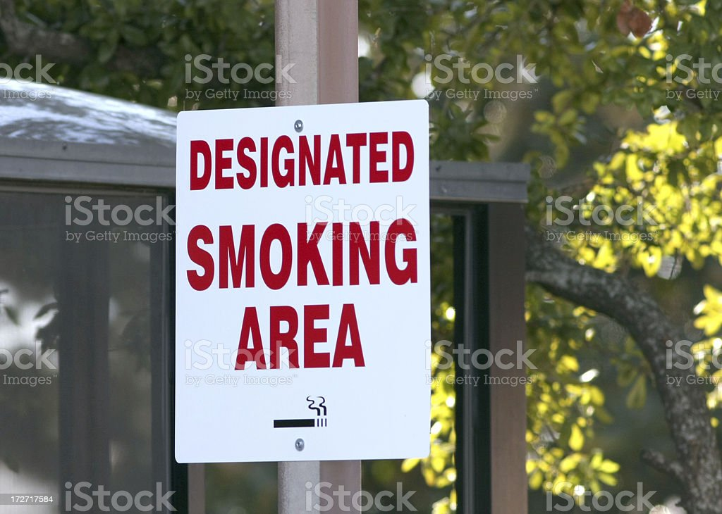 Designated Smoking Area Sign stock photo