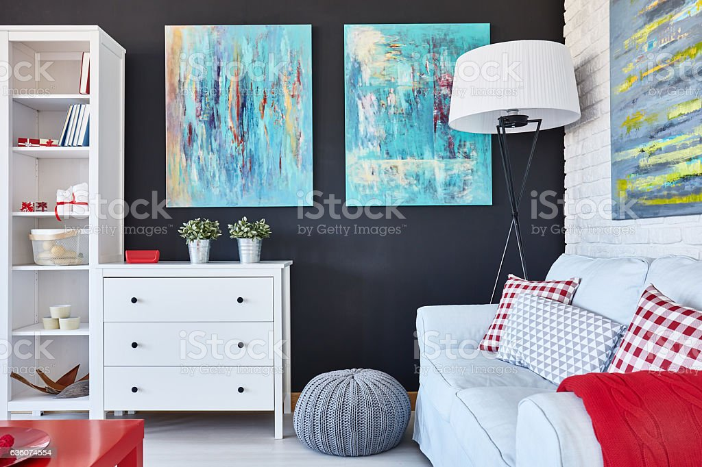 Designed living room stock photo