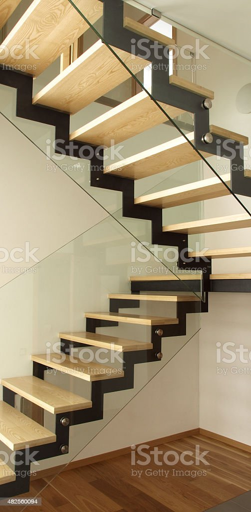 Designed wooden stairs stock photo