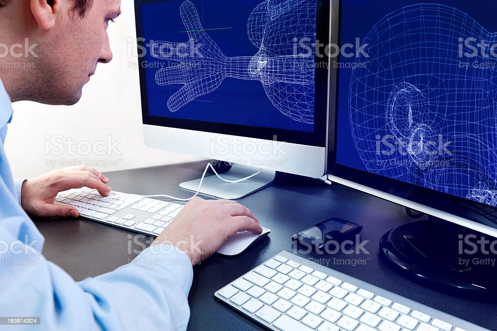 Designer 3D in work stock photo