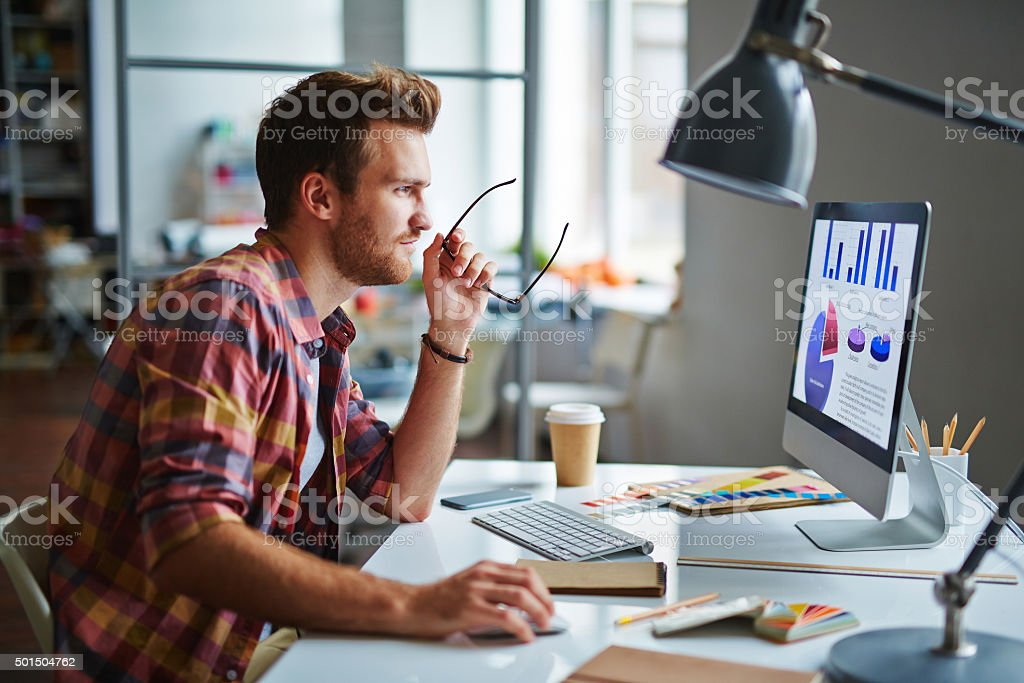 Designer at work stock photo