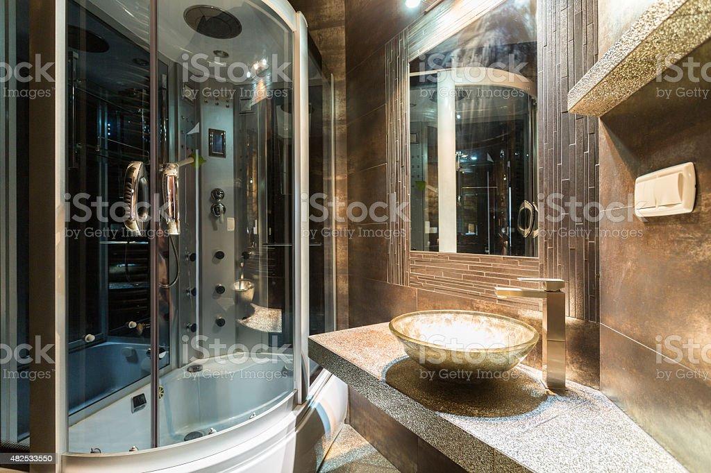 Designer bathroom in contemporary house stock photo