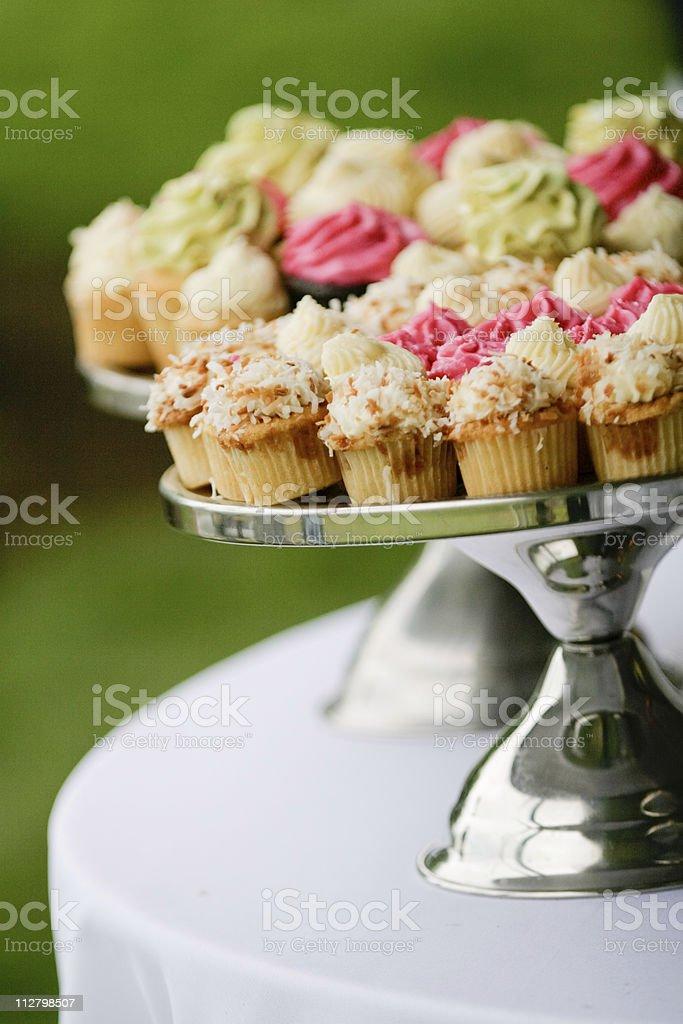 Designer Cupcakes on Metal cake platter Beautiful display royalty-free stock photo
