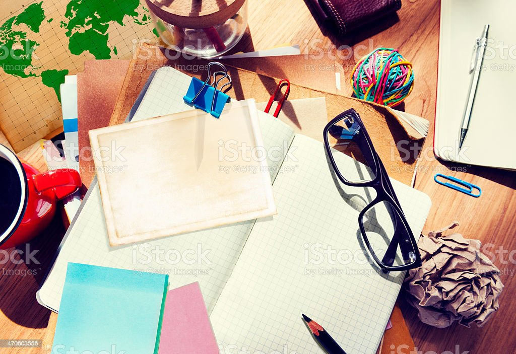 Designer Desk Architectural Tools Notebook Working Place Concept stock photo