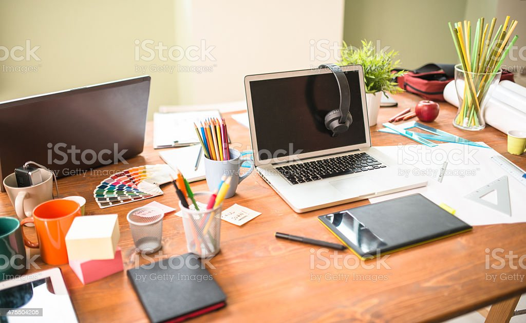Designer desk stock photo