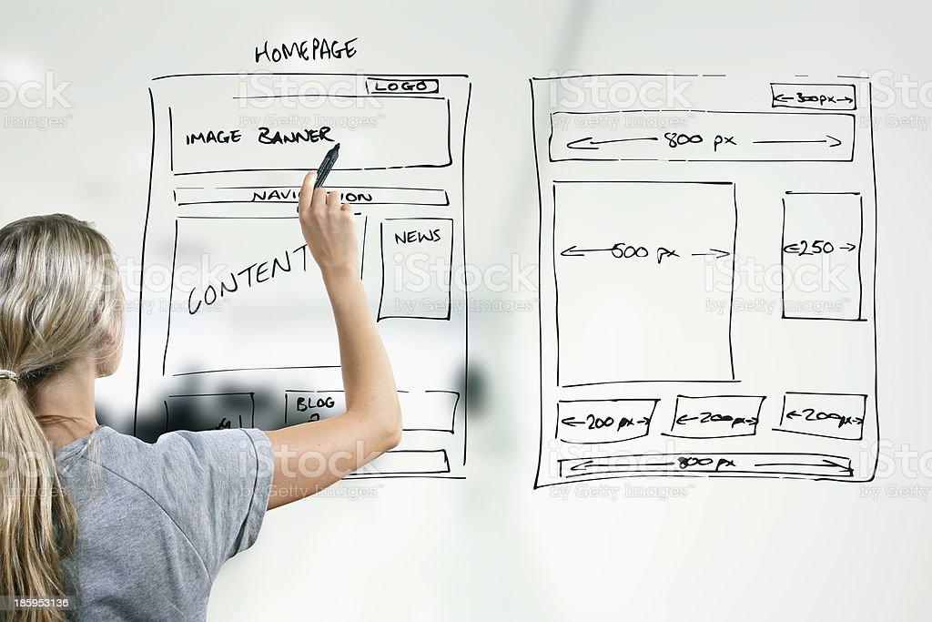 designer drawing website development wireframe stock photo