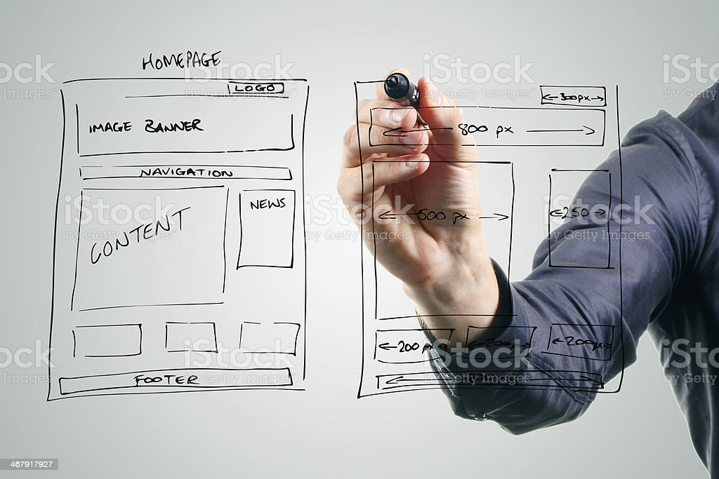 designer drawing website development wireframe stock photo