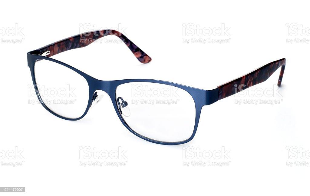 designer eyeglasses on white background stock photo