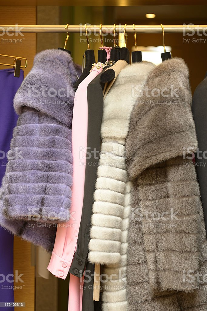 Designer fur and dress collection stock photo