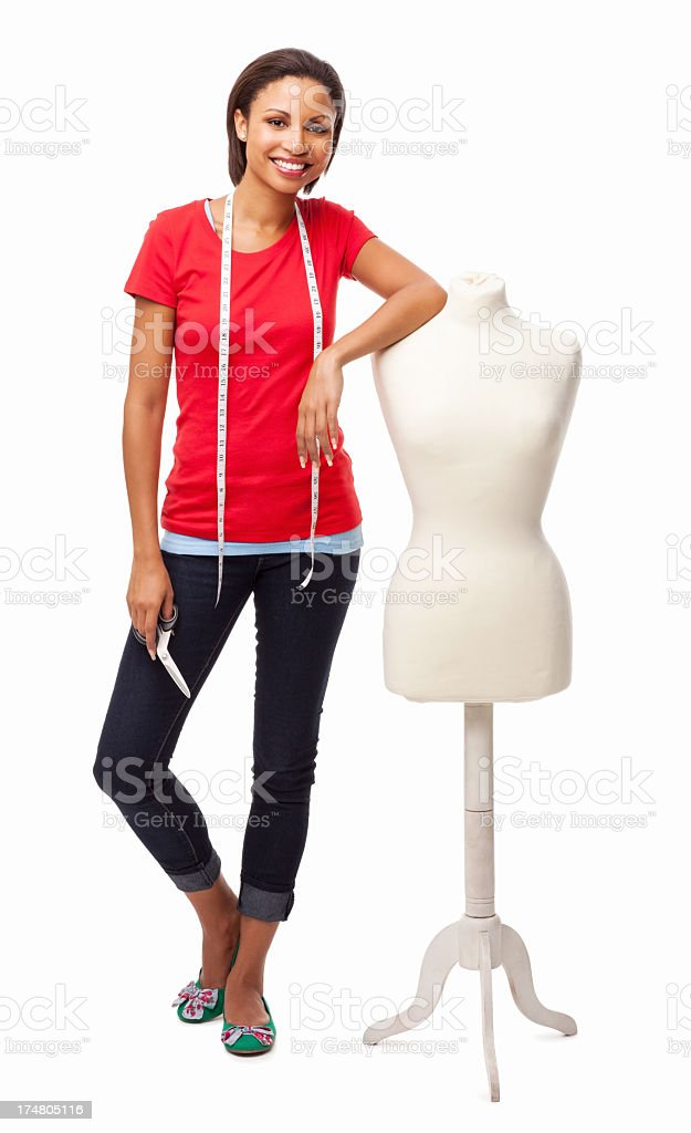 Designer Holding Scissor While Standing By Mannequin - Isolated royalty-free stock photo