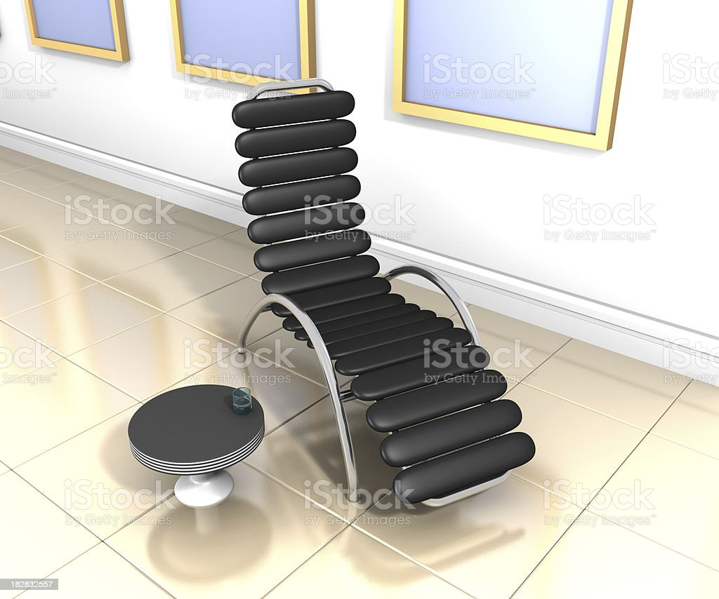 Designer leather reclining chair stock photo