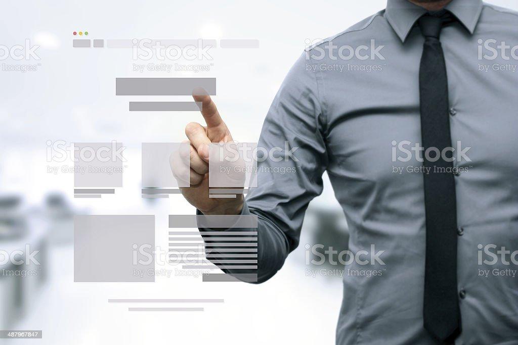 designer presenting website development wireframe stock photo