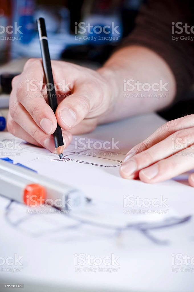 Designer Scribbling royalty-free stock photo
