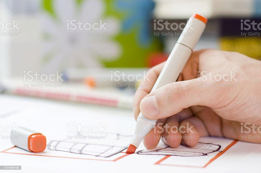 Designer Scribbling royalty-free stock photo