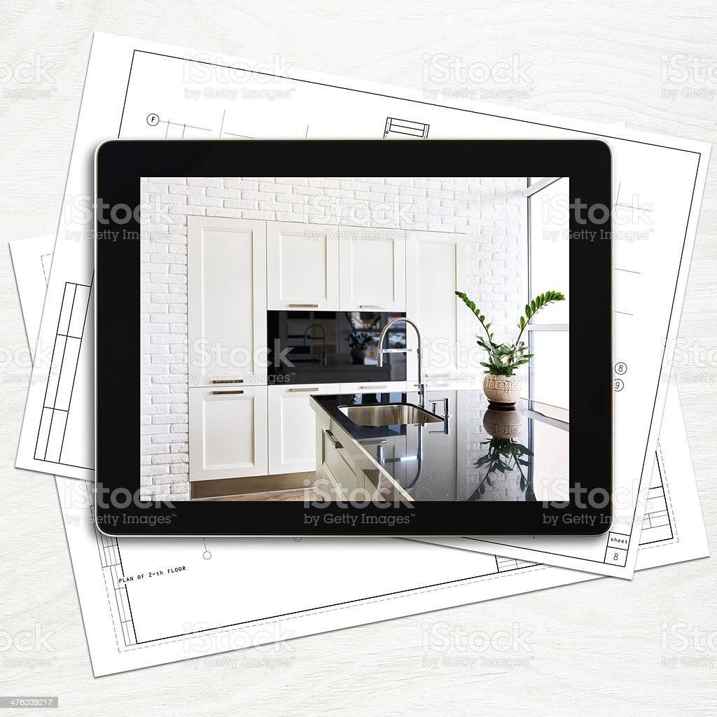 Designer workplace with digital tablet computer stock photo