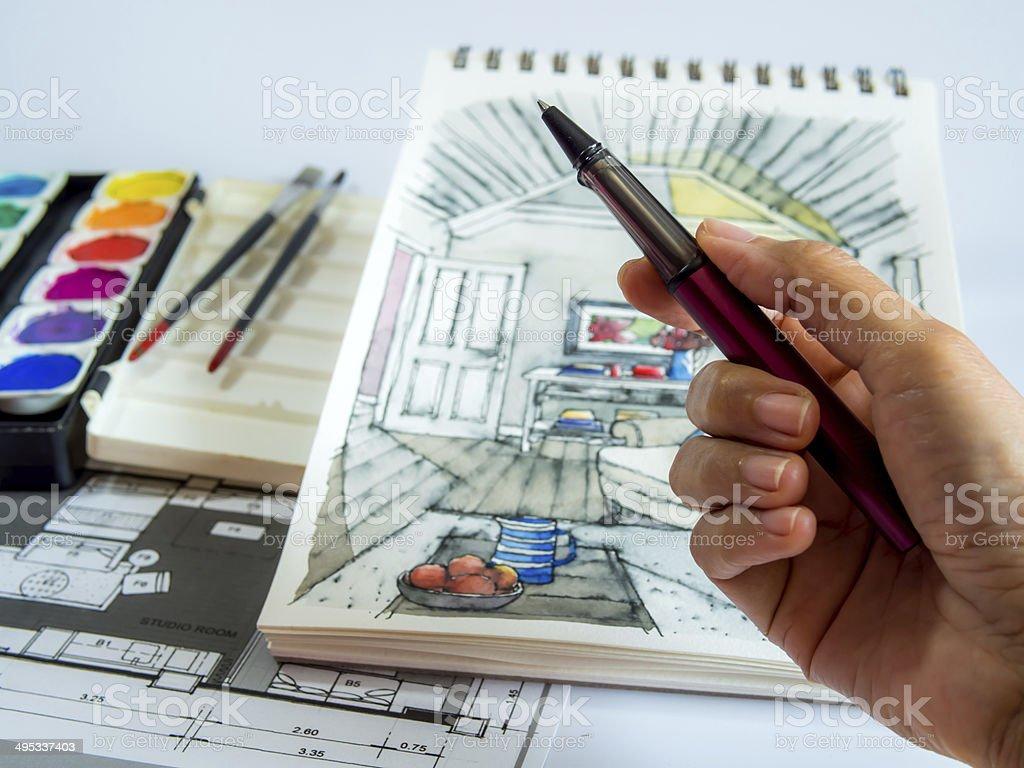 Designer travaille sur la perspective intérieur de dessin croquis plans de maison photo libre