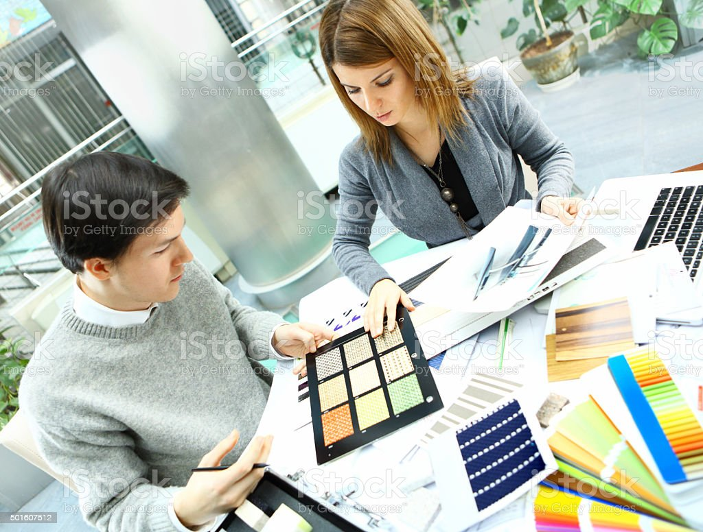 Designers at work. stock photo