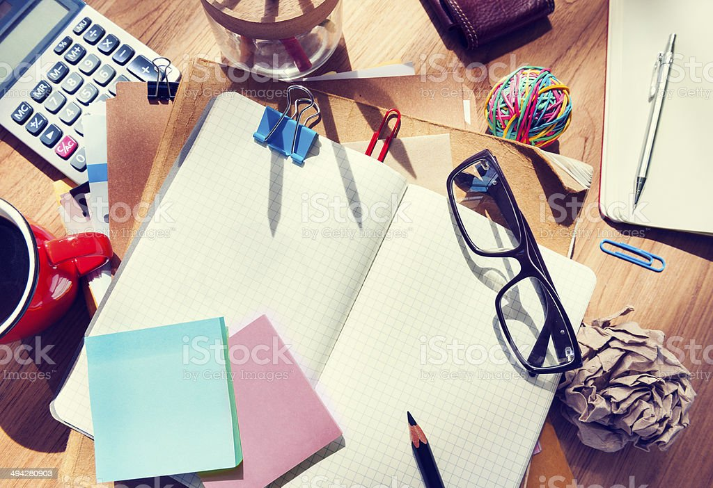 Designer's Desk with Architectural Tools and Notebook stock photo
