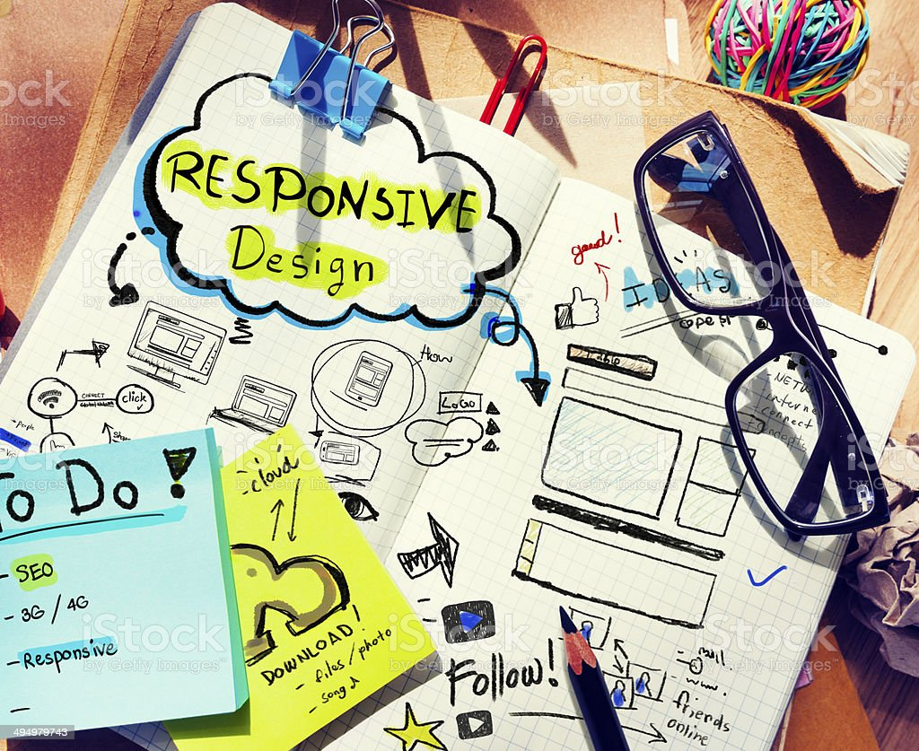 Designer's Desk with Responsive Design Concept stock photo