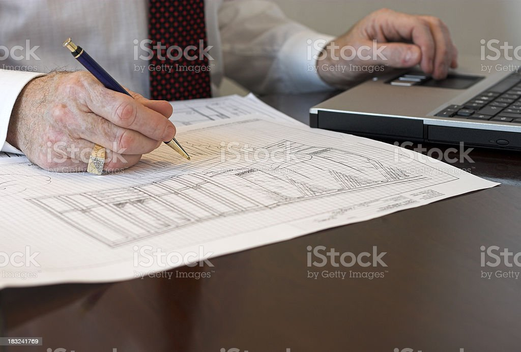 Designer's hands with laptop royalty-free stock photo