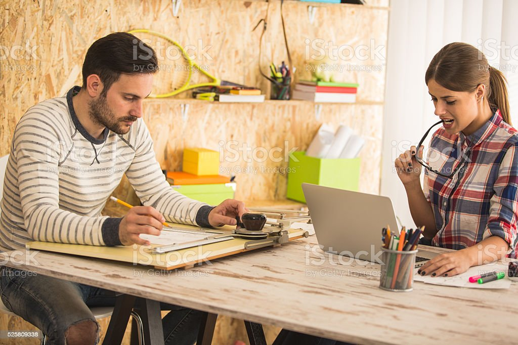 Designers working at office stock photo