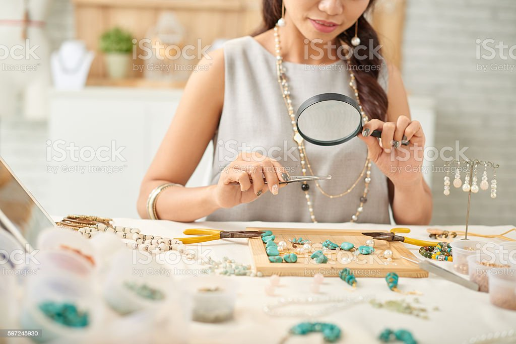 Designing jewelry stock photo