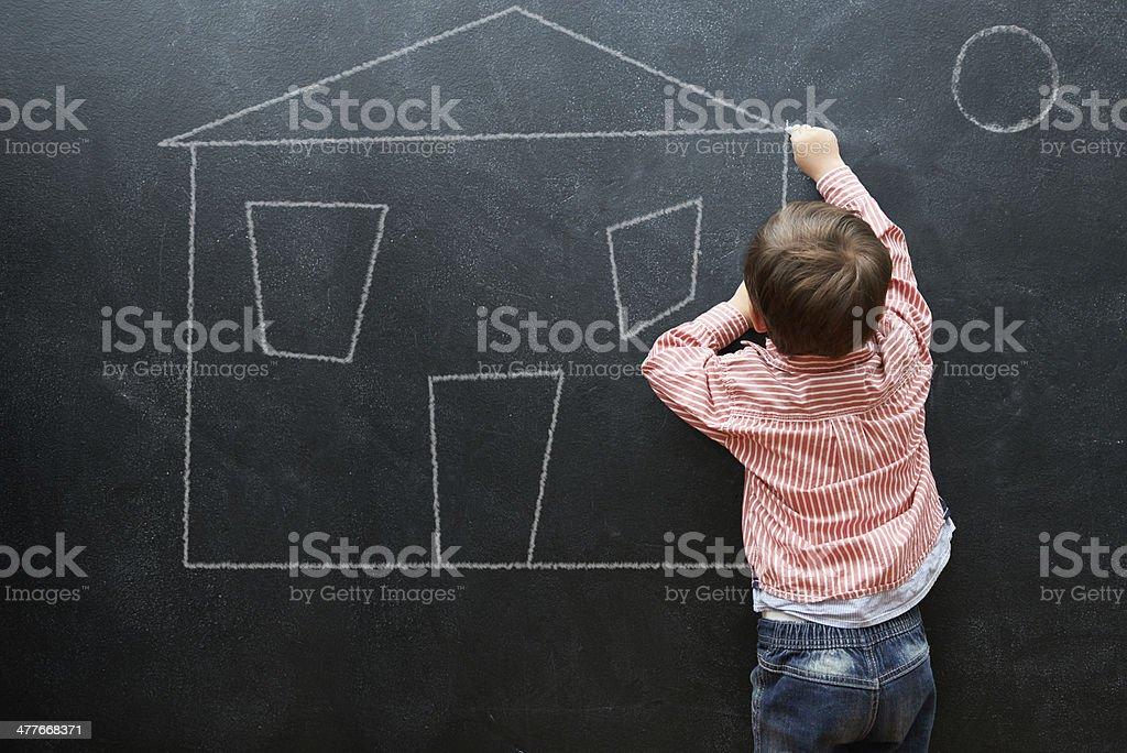 Designing my future mansion stock photo