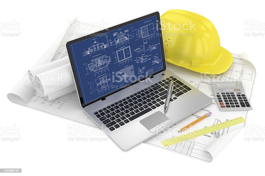 Designing of project. Draws and laptop royalty-free stock photo
