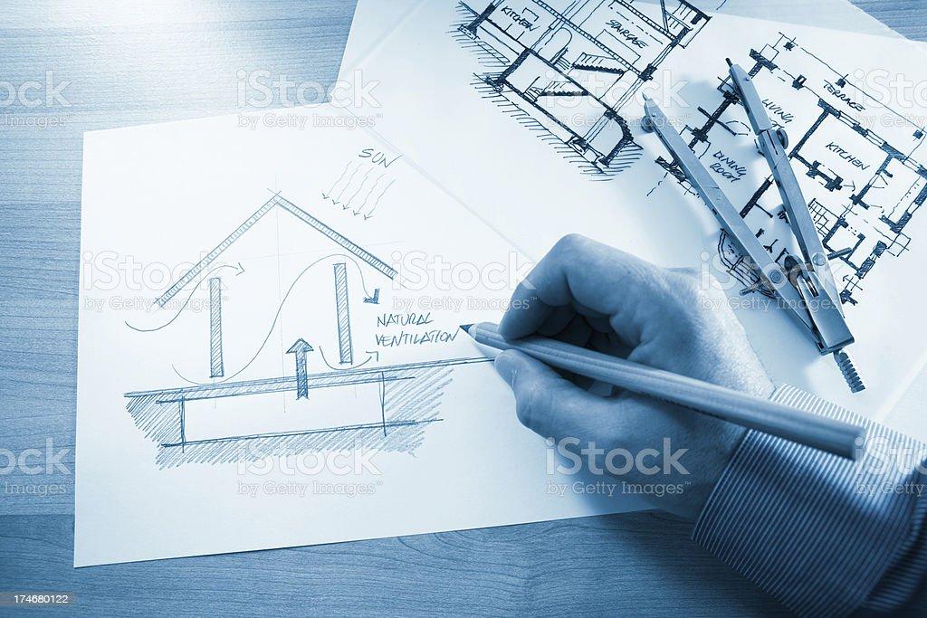 Designing sustainable houses royalty-free stock photo