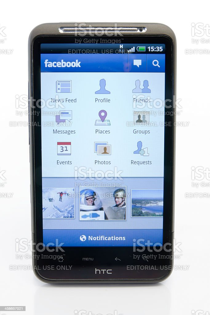 HTC Desire HD and Facebook stock photo