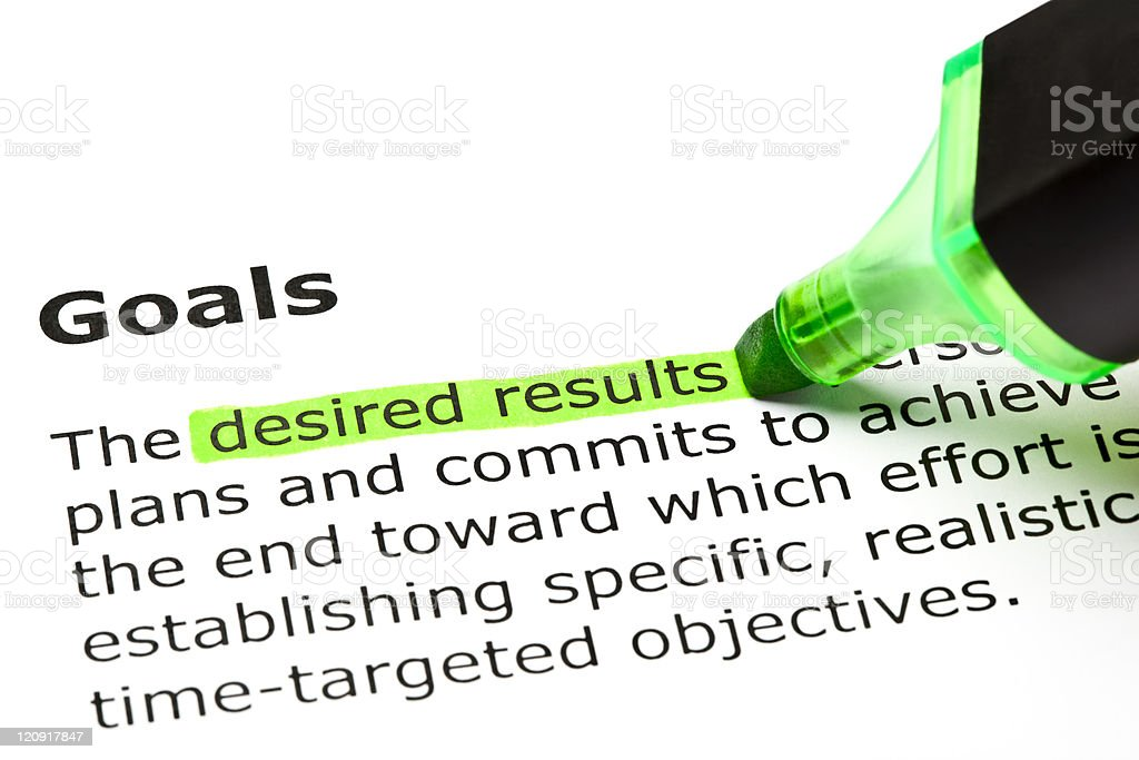 'Desired results', under 'Goals' royalty-free stock photo