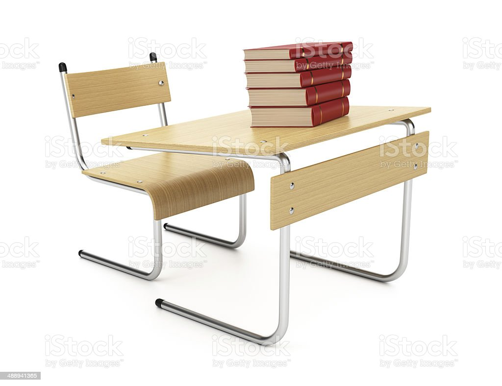 Desk and books royalty-free stock photo