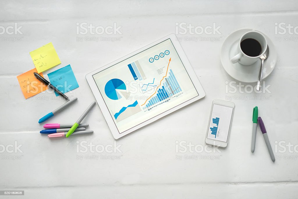 Desk at a creative office stock photo