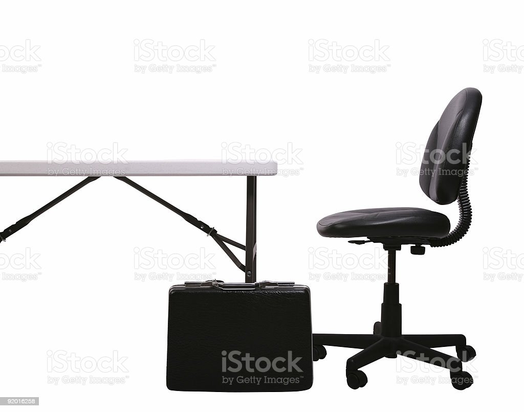 Desk, Brief Case, Chair on White royalty-free stock photo
