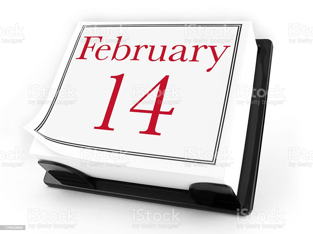 Desk Calendar - February 14th (with clipping path) royalty-free stock photo