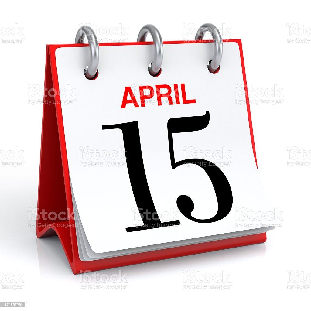 A desk calendar for April 15th  stock photo