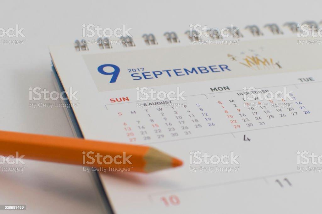 desk calendar in 2017 (SEPTEMBER) stock photo