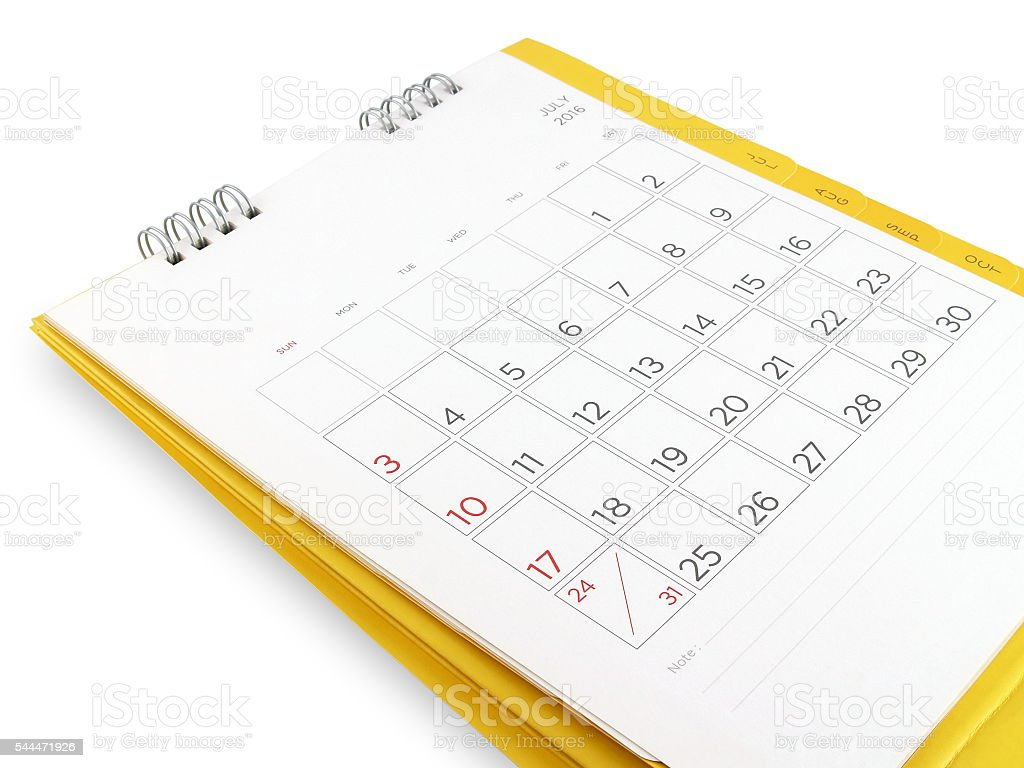 desk calendar in July 2016 with blank lines for notes stock photo