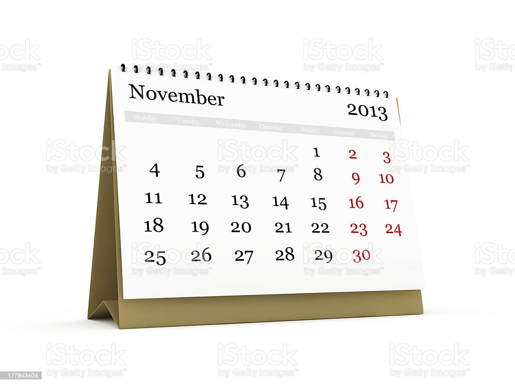 Desk Calendar, November 2013 royalty-free stock photo