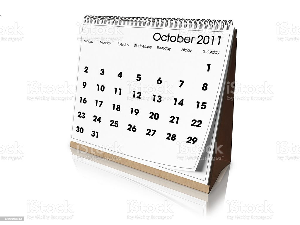 Desk Calendar October 2011 royalty-free stock photo