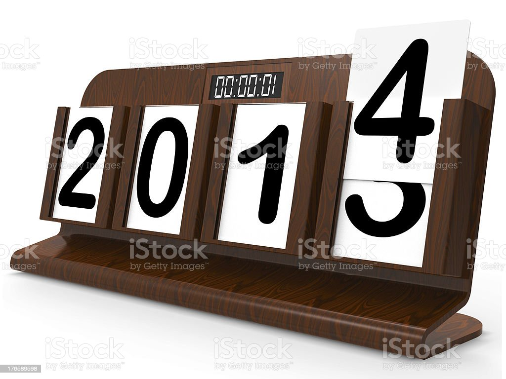 Desk Calendar Represents Year Two Thousand Fourteen stock photo