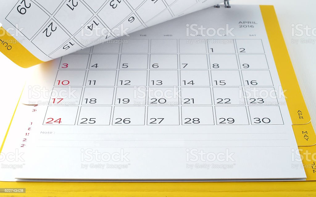 desk calendar with days and dates in April 2016 stock photo