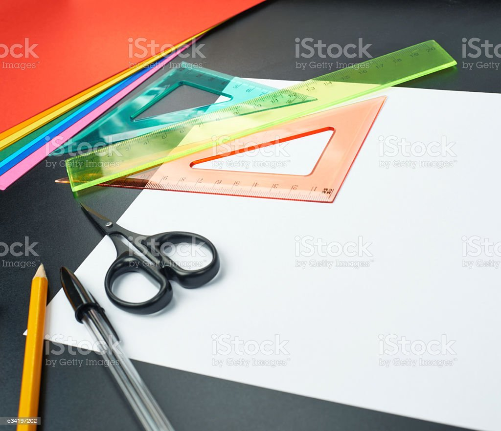 Desk covered with multiple stationery stock photo