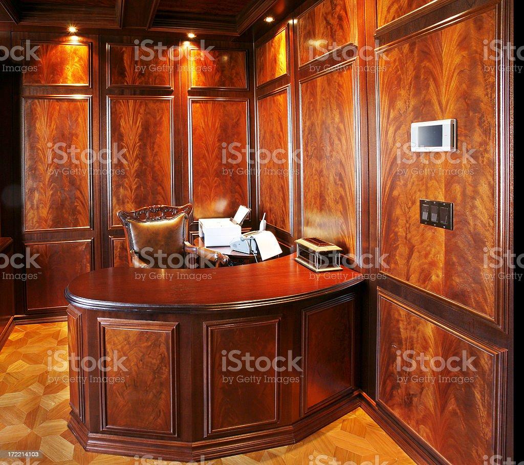 Desk in study stock photo