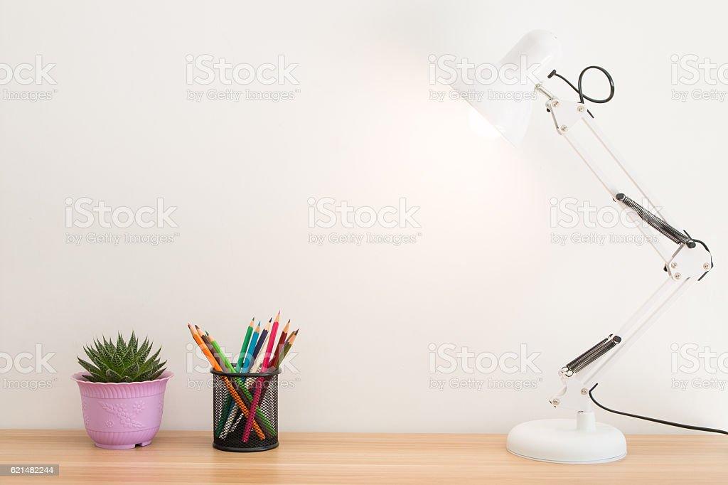 Desk lamp on the desk