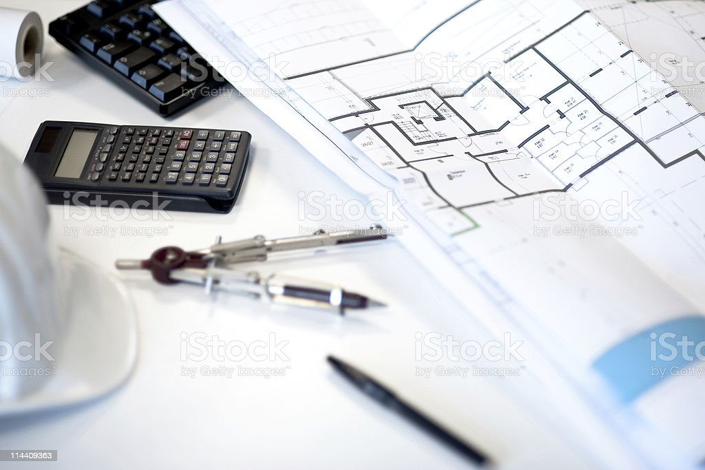 Desk of an architect royalty-free stock photo