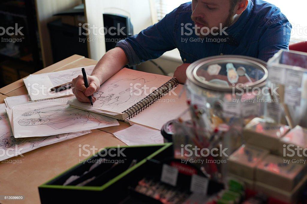 Desk of artist stock photo