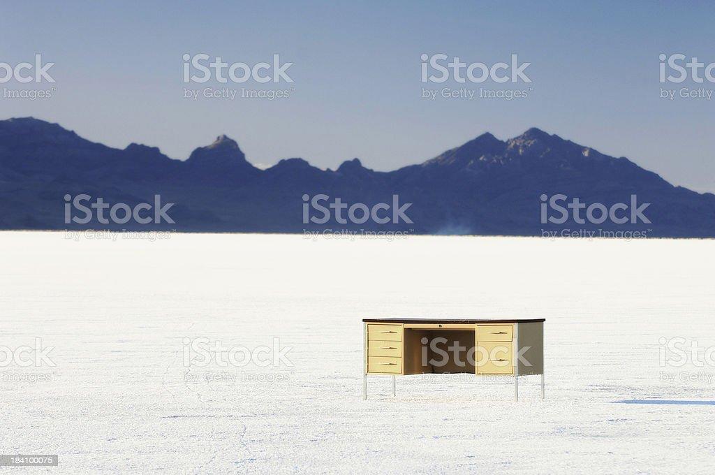Desk on the Bonneville Salt Flats stock photo